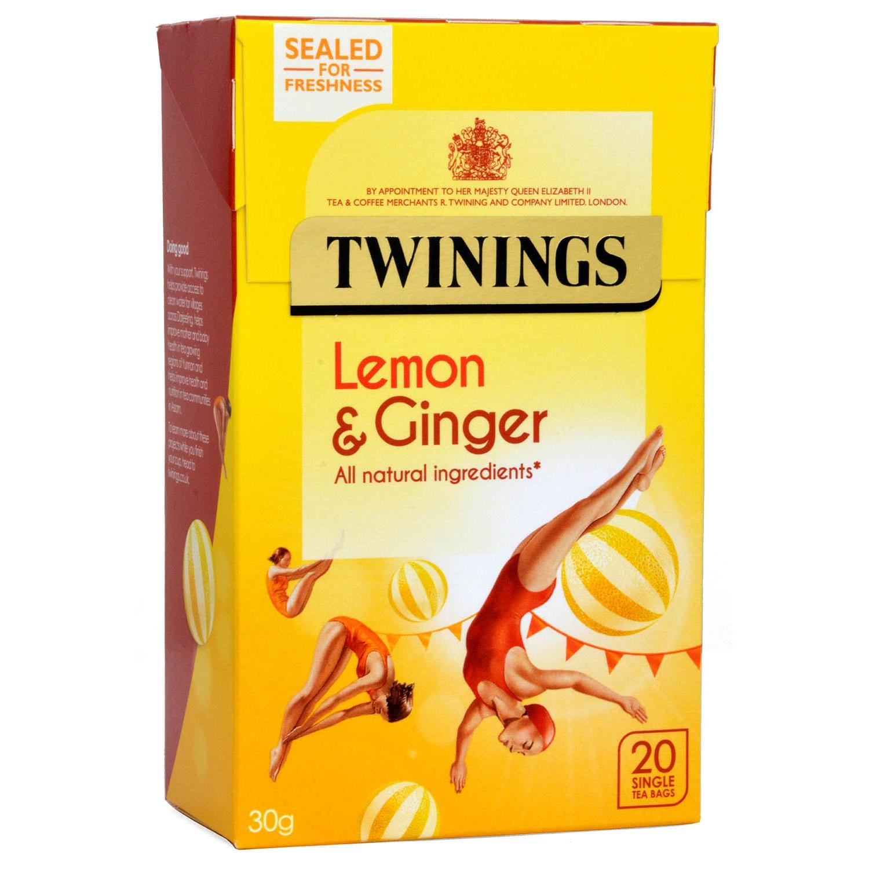 Twinings 20 Teebeutel Zitrone & Ingwer Geschmack - aromatisierter Früchtetee