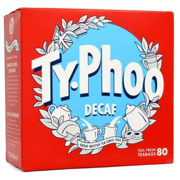 Typhoo Tea 80 - Schwarztee in Teebeutel entkoffeiniert - teinfrei - 232g