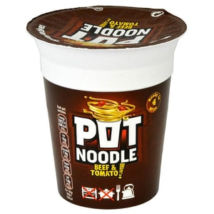 Pot Noodle Beef & Tomato - Instant-Nudelgericht Rindfleisch-Tomate-Geschmack