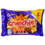 Cadbury Crunchie 4er-Pack Milchschokoladenriegel mit Knusperkaramell-Füllung 104,4g