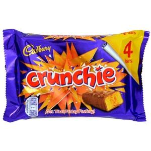 Cadbury Crunchie 4er-Pack 104,4g - Milchschokoladenriegel mit Knusperkaramell-Füllung