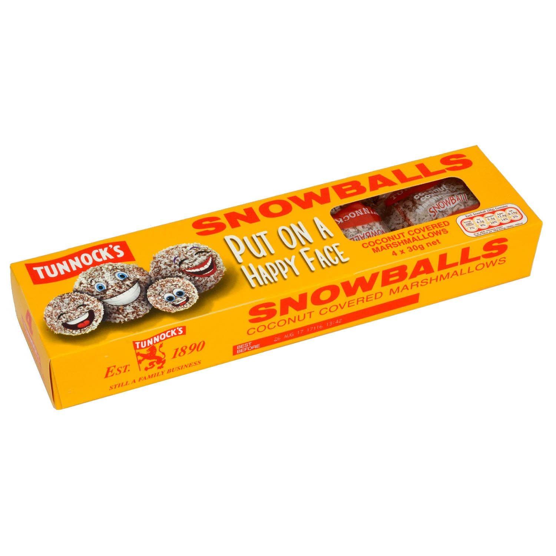 Tunnocks 4 Snowballs 120g - Schaumzucker in Kokosflocken-Hülle