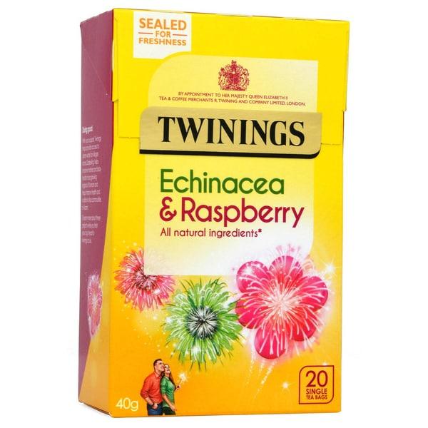 Twinings Echinacea & Himbeere 20 Teebeutel - aromatisierter Früchtetee Echinacea-Himbeere-Geschmack