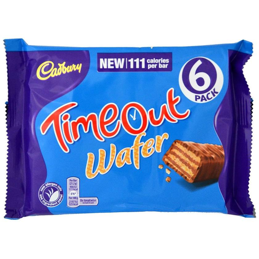 Cadbury TimeOut 6 Riegel 96g - Waffelriegel mit Milchschokolade