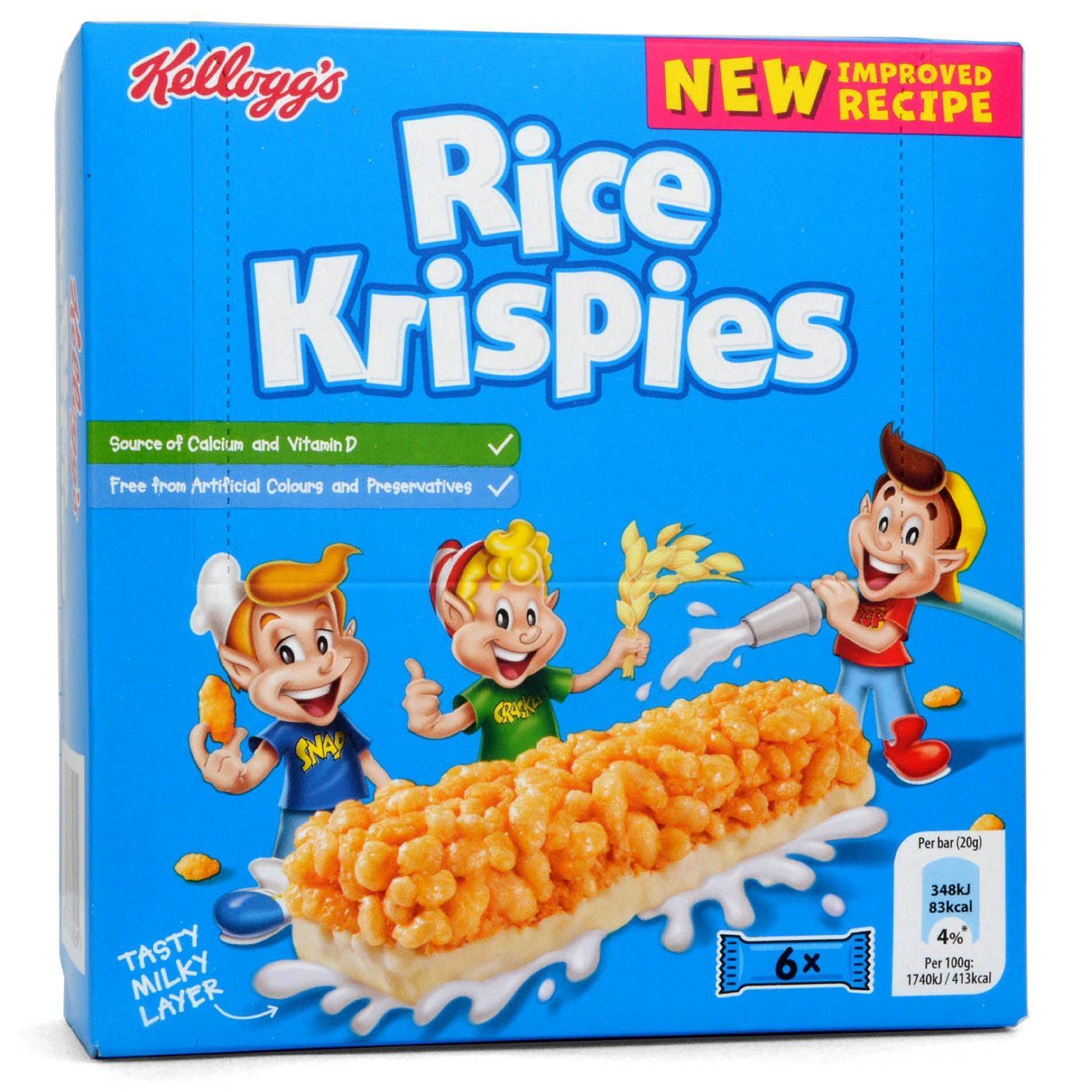 Kelloggs Rice Krispies Cereal & Milk Snack Bars - Reisflocken-Riegel mit Milch