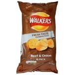Walkers Beef & Onion, 6 x 25g Pack - Kartoffelchips Rind-Zwiebel-Geschmack