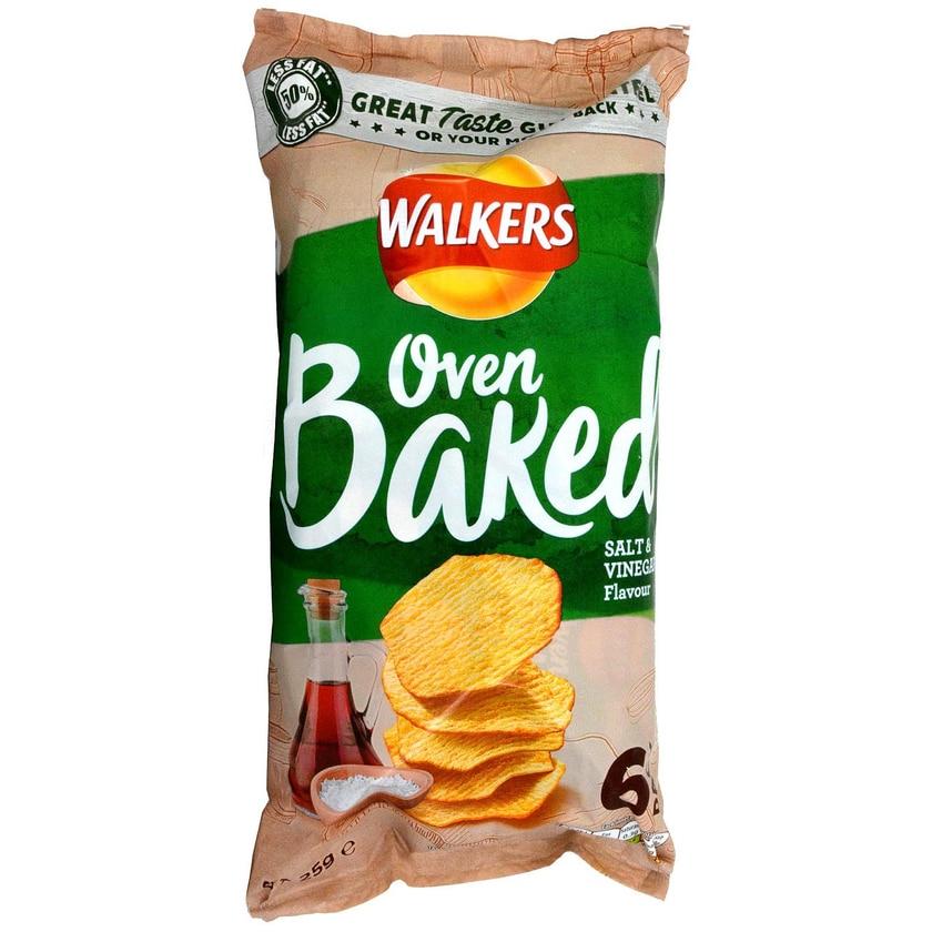 Walkers Oven Baked Salt & Vinegar Kartoffelsnack 6 x 25g