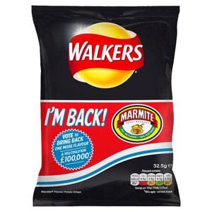 Walkers Chips Marmite, Tüte 32,5g - Kartoffelchips Marmite-Geschmack