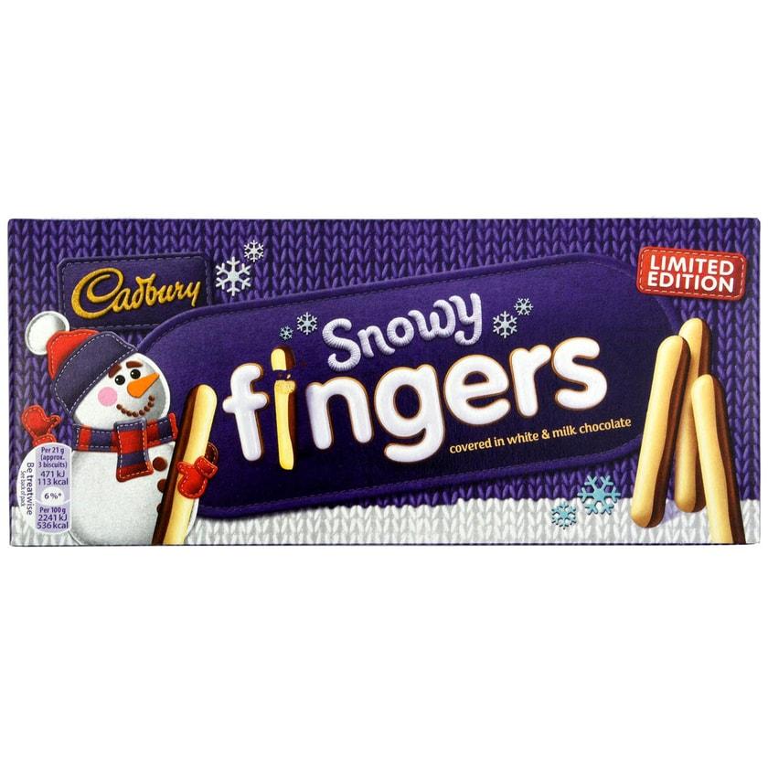 Cadbury Snowy Fingers 115g Keksriegel mit Schoko-Überzug