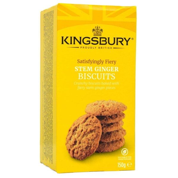 Kingsbury Stem Ginger Biscuits 150g - Butterkese mit Ingwer-Stückchen