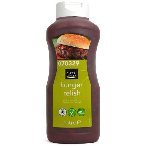 Chefs Larder Burger Relish 1 Liter - Herzhaftes Relish mit Gurken, Tomaten und Paprika