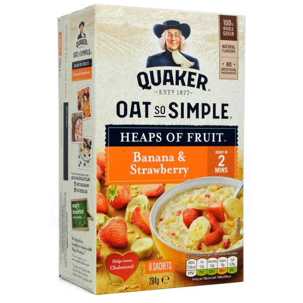 Quaker Oats So Simple Banana & Strawberry Porridge 8 Sachets - Instant-Porridge