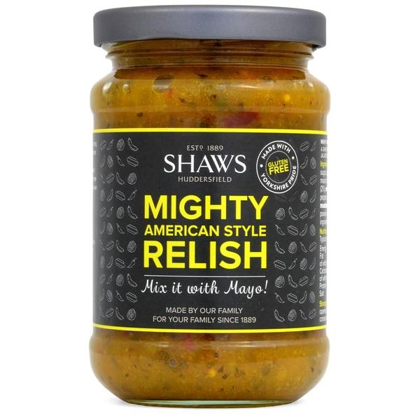 Shaws Mighty American Style Relish 300g - Reilsch mit Gurke, Jalapenos, scharf