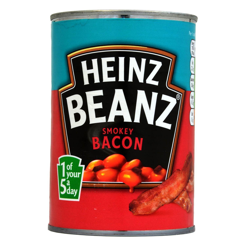 Heinz Beanz Smokey Bacon 390g - Weiße Bohnen mit Speck in Tomatensauce