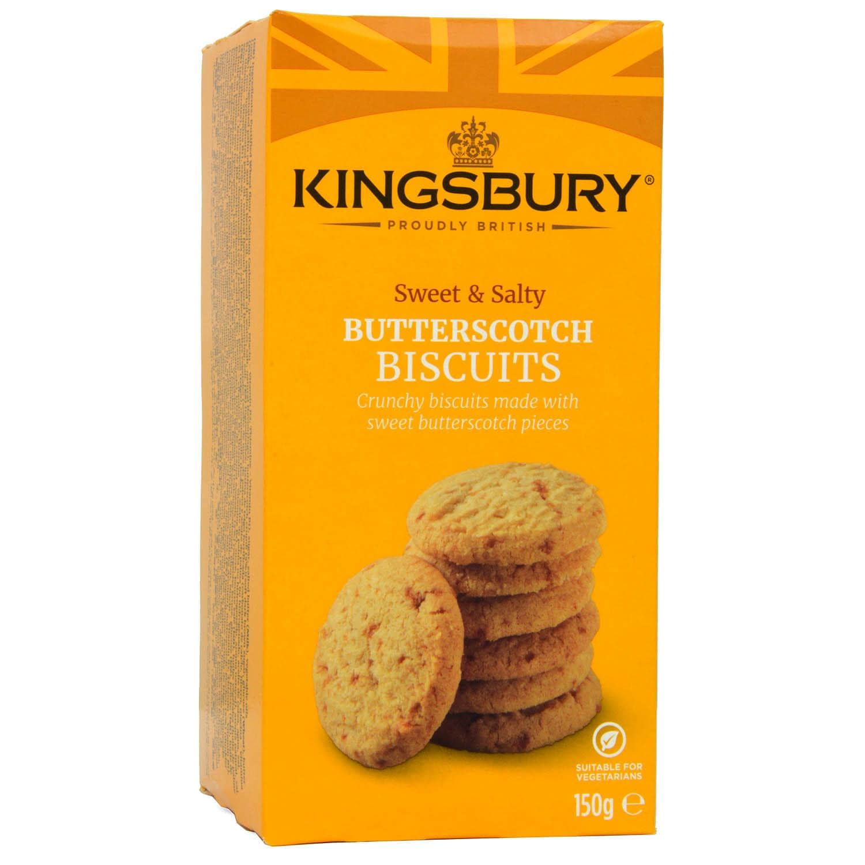Kingsbury Butterscotch Biscuits 150g - Kekse mit Butterscotch-Stücken