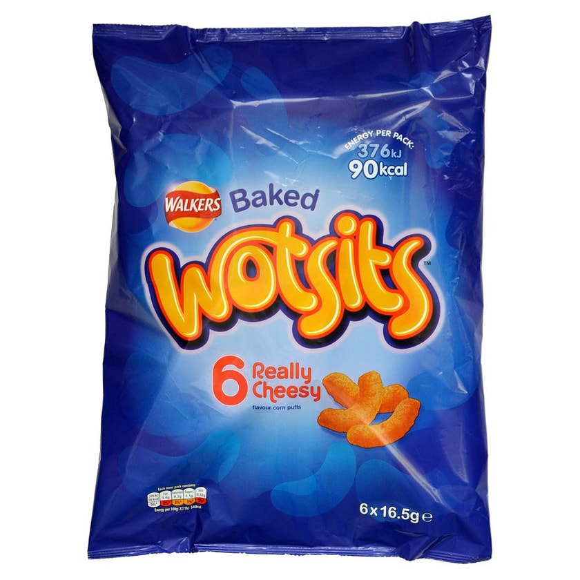 Walkers Cheesy Wotsits 6 x 16,5g - Maisgebäck Käsegeschmack