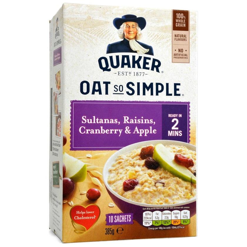 Quaker Oat So Simple Sultanas, Raisins, Cranberry & Apple 10-pack Instant-Haferflocken