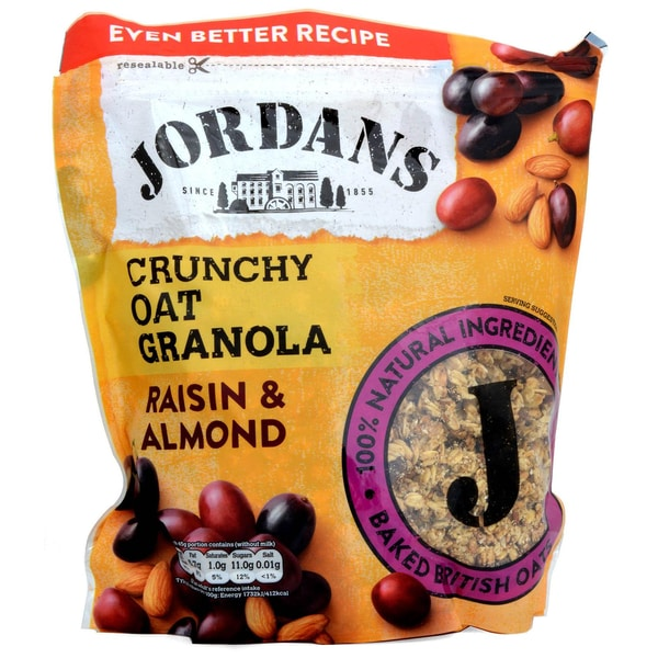Jordans Granola Raisin & Almond 750g - Frühstücksflocken mit Rosinen & Mandeln