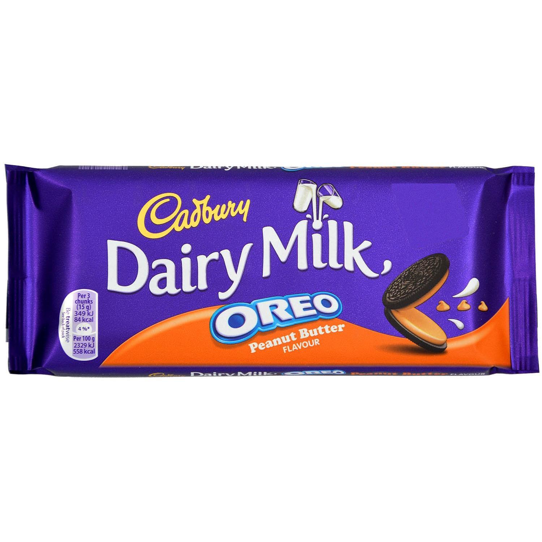 Cadbury Dairy Milk Oreo Peanut Butter 120g - Milchschokolade mit Keks und Creme