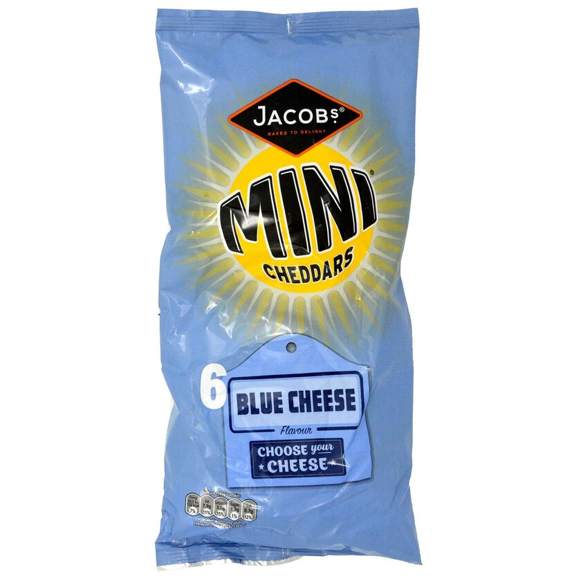 Jacobs Mini Cheddars Strathdon Blue Cheese 6 x 25g Mini-Kekse Blauschimmelkäse-Geschmack