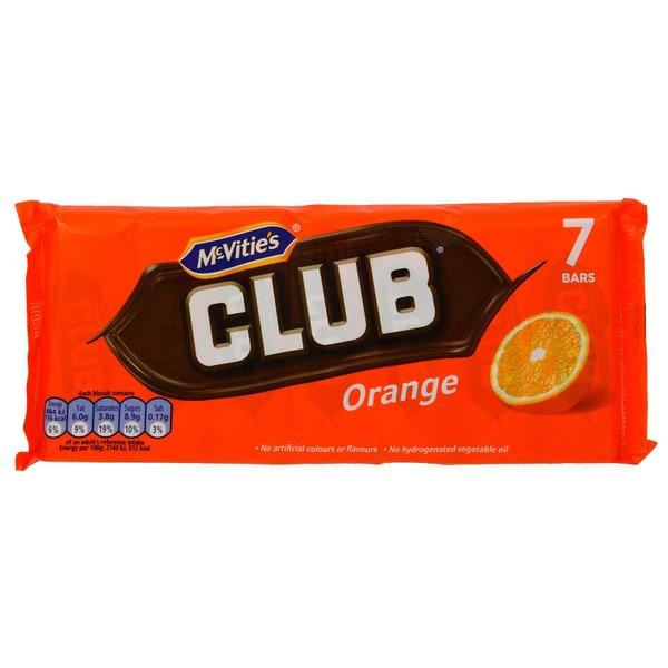 McVities Club Orange 7 Riegel 154g Keks mit Schokoüberzug, Orangen-Geschmack
