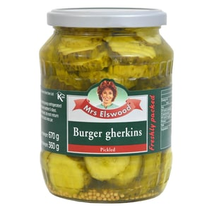 Mrs Elswood Pickled Burger Gherkins 670g - Essiggurken, Abtropfgewicht 360g