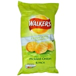 Walkers Pickled Onion, 6 x 25g Pack - Kartoffelchips Silberzwiebel-Geschmack