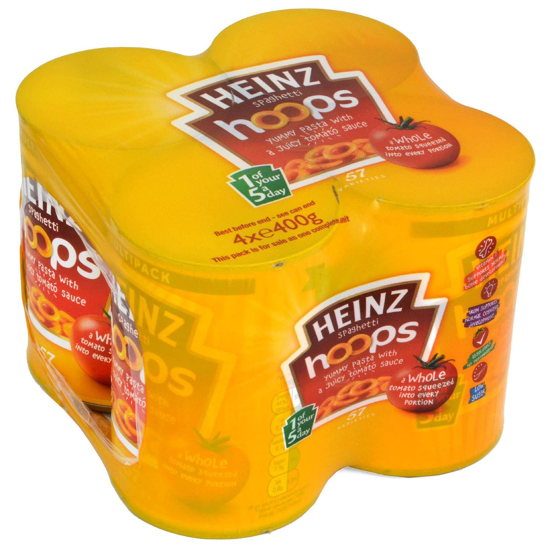 Heinz Spaghetti Hoops 4 x 400g - Nudelringe in Tomatensauce