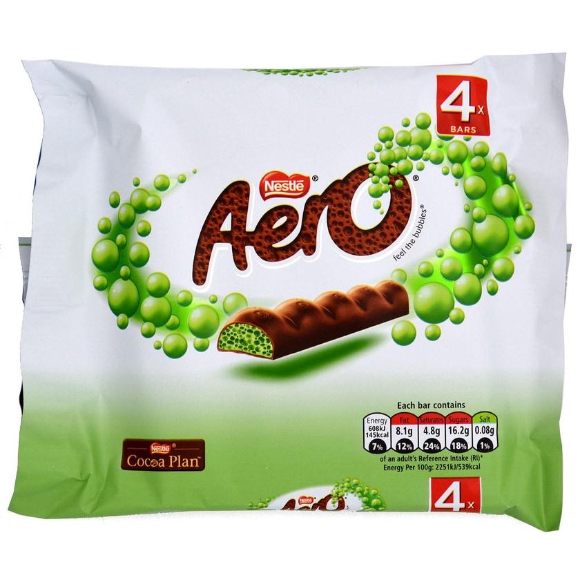 Nestle Aero Peppermint 4er Pack 108g - Milchschokolade mit Minzgeschmack-Füllung