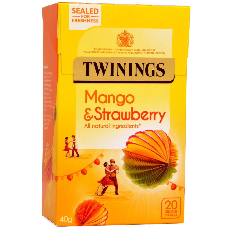 Twinings Erdbeere & Mango 20 Teebeutel - aromatisierter Früchtetee Erdbeer-Mango-Geschmack