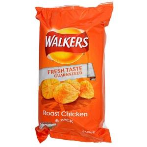 Walkers Roast Chicken, 6 x 25g Pack - Kartoffelchips Grillhähnchen-Geschmack