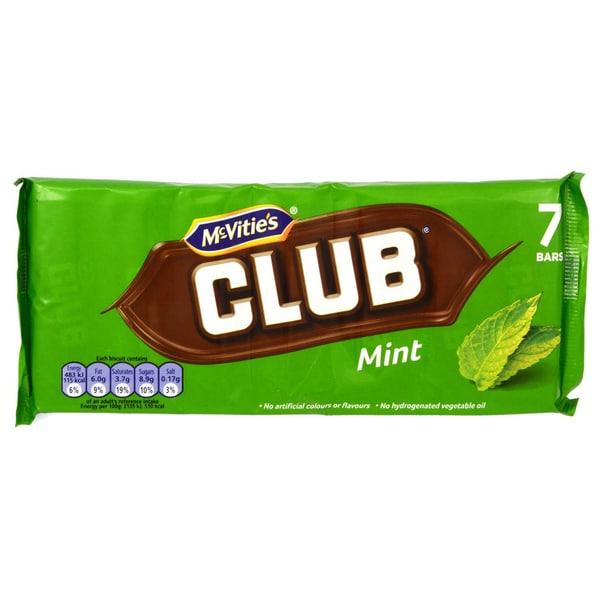McVities Club Mint 7 Riegel - Keks mit Schokoüberzug, Minz-Geschmack 154g