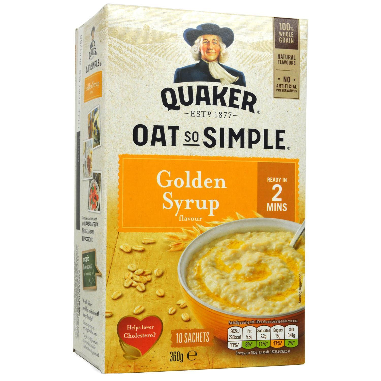 Quaker Oats So Simple Golden Syrup Porridge 10-pack - Instant-Haferflocken Golden Syrup-Geschmack
