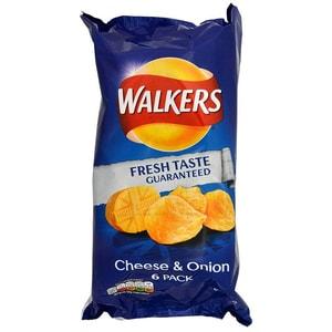Walkers Cheese & Onion, 6 x 25g Pack - Kartoffelchips Käse-Zwiebel-Geschmack