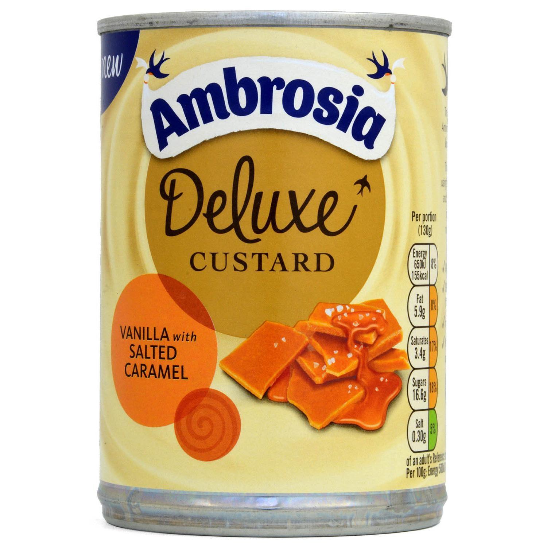 Ambrosia Deluxe Custard Vanilla with Salted Caramel 400g - Dessertsoße, Vanille-Salzkaramell-Geschmack