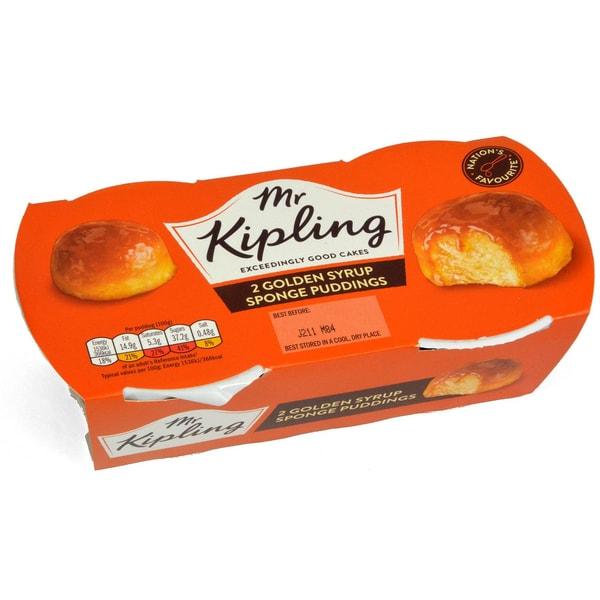Mr, Kipling 2 Golden Syrup Sponge Puddings Rührkuchen mit Golden Syrup Sauce 190g