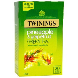 Twinings Ananas & Grapefruit Grüner Tee 20 Teebeutel - aromatisierter Grüntee Ananas-Grapefruit-Geschmack