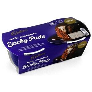 Cadbury Milk Chocolate Sticky Puds 2 x 95g - Dessert-Kuchen mit Soße