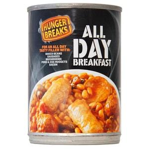 Hunger Breaks All Day Breakfast - Bohnengericht mit Fleischprodukten, Ei und Champignons