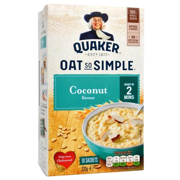 Quaker Oat So Simple Coconut Porridge 10 Sachets 333g - Instant-Porridge, Kokosnuss-Geschmack