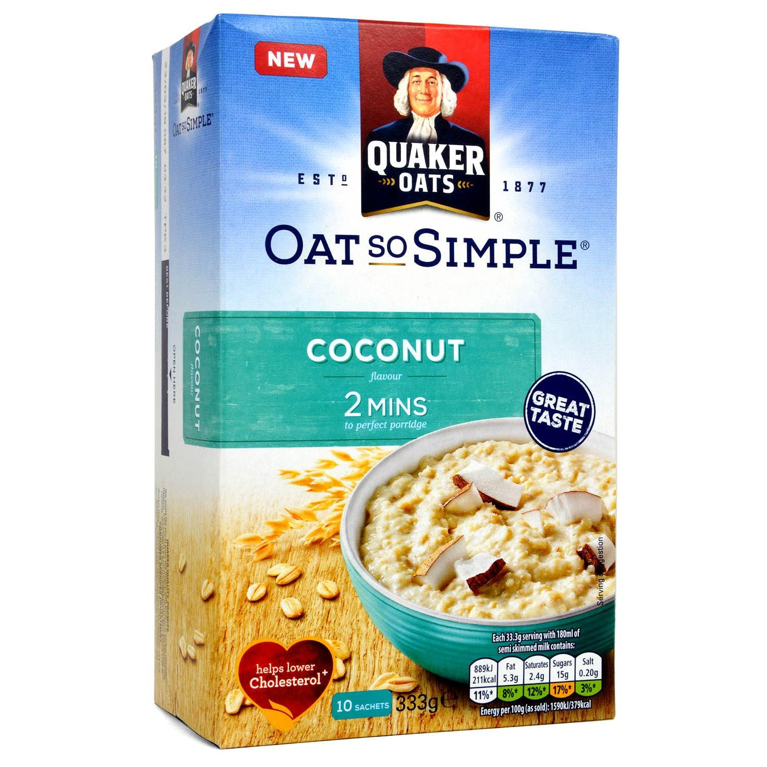 Quaker Oat So Simple Coconut Porridge 10 Sachets 333g - Instant-Porridge, Kokosnuss-Geschmack