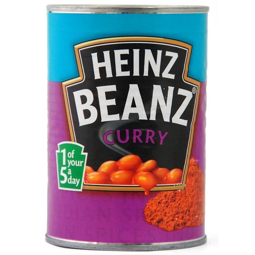 Heinz Beanz Curry 390g - Weiße Bohnen in Tomatensoße, Curry-Geschmack