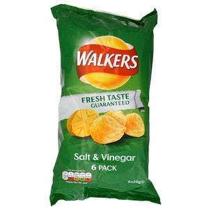 Walkers Salt & Vinegar Kartoffelchips Salz-Essig-Geschmack 6 x 25g