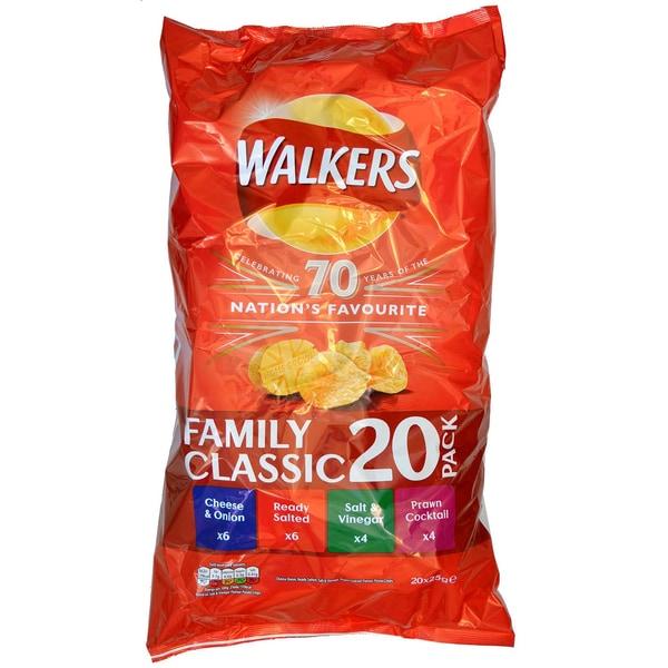 Walkers 20er-Pack Variety Chips Sortiment 500g
