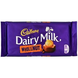 Cadbury Dairy Milk Whole Nut 200g - Milchschokolade mit Haselnüssen