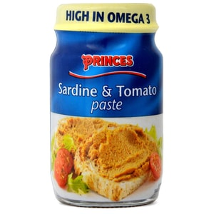 Princes Sardine & Tomato Paste 75 g - Sardine-Tomate-Brotaufstrich mit Lachs, Makrele und Kabeljau