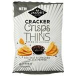 Jacobs Cracker Crisps Thins Sea Salt & Cracked Black Pepper 130g