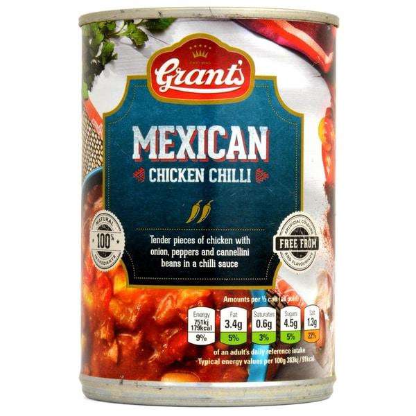 Grants Mexican Chicken Chilli 392g mit Zwiebel, Paprika und Bohnen