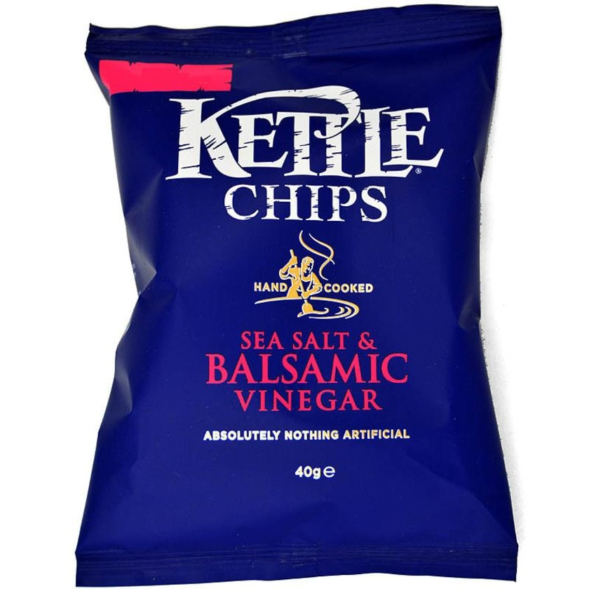 Kettle Chips Sea Salt & Balsamic Vinegar, Tüte 40 g - Salz-Balsamico-Geschmack