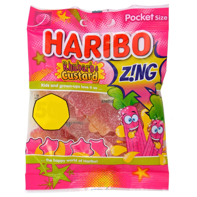 Haribo Fizzy Rhubarb & Custard Splats - Saure Fruchtgummis Rhabarber-Sahne-Geschmack
